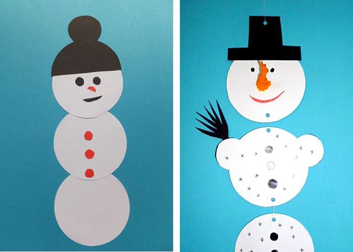 bonhomme de neige en carton diy enfant activité manuelle facile