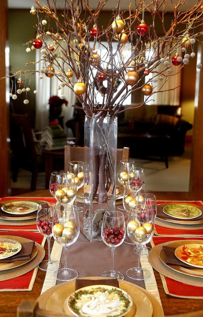 boules de noël décoration de table de noël