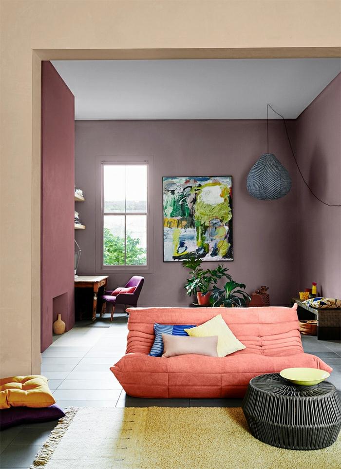 canapé en couleur terracotte