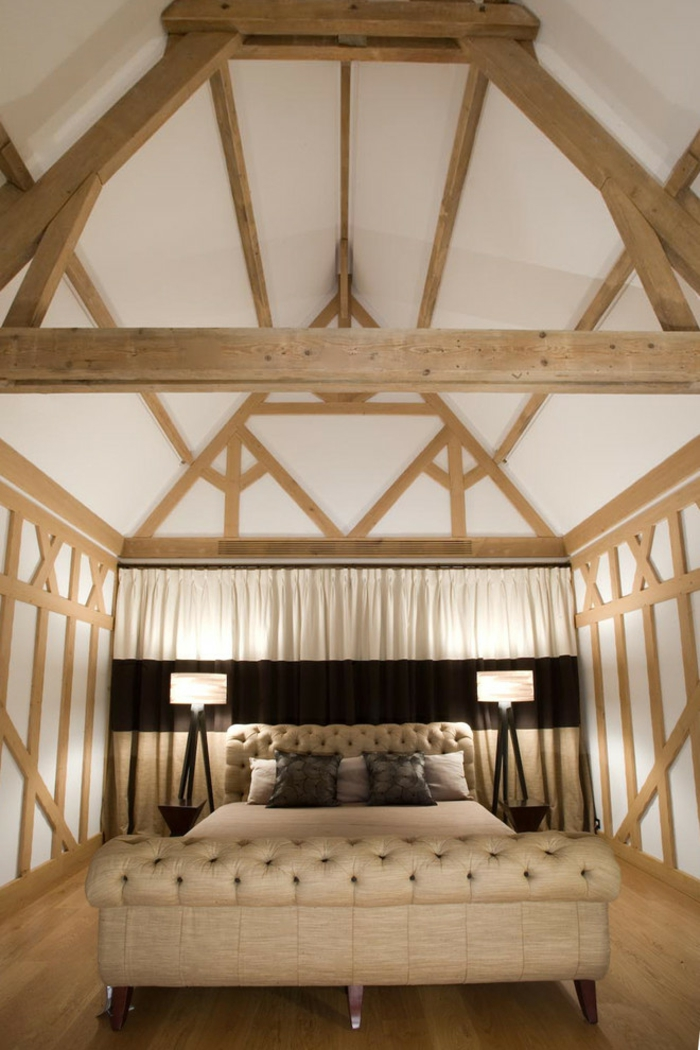 chambre à coucher style rustique aménagement de combles