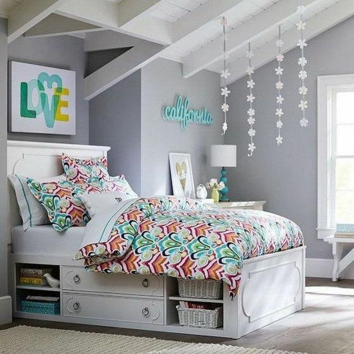 chambre ado fille couleur grise déco colorée