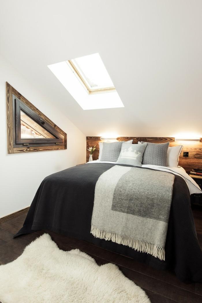 chambre style rustique aménagement combles