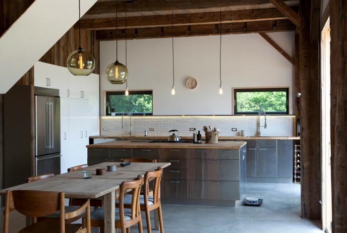 cuisine rustique moderne îlot central plancher béton