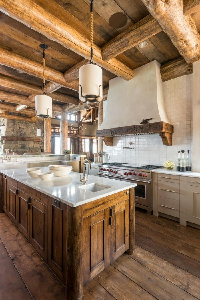 cuisine rustique moderne bois brut îlot central