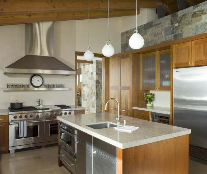 cuisine rustique moderne bois marron électroménager encastrable