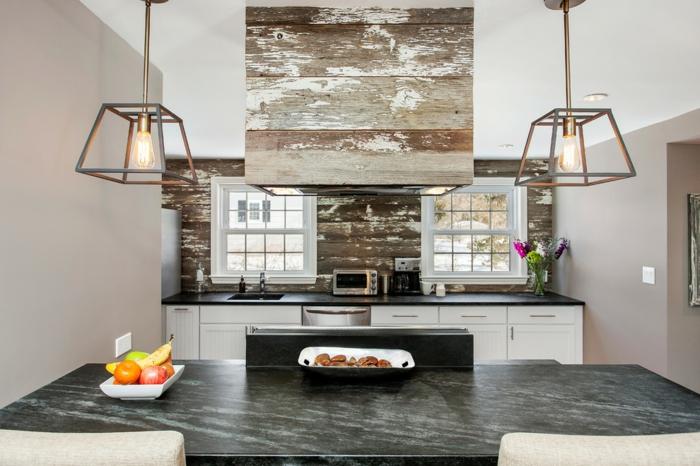 cuisine rustique moderne bois vieilli plateau de table marbre
