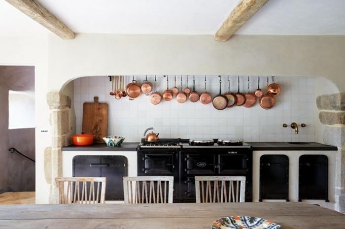 cuisine rustique moderne carrelage blanc électroménager noir