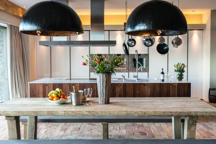 cuisine rustique moderne table à manger bois brut