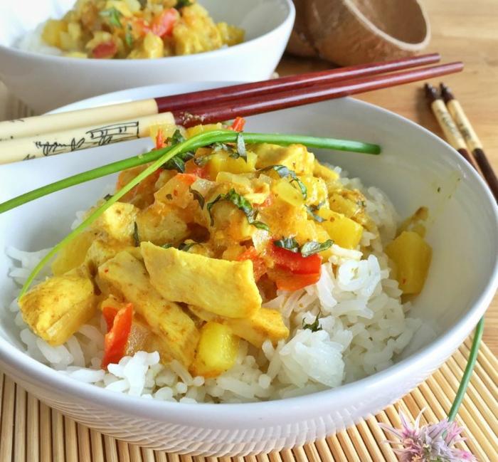 curry poulet ananas au lait de coco et au riz basmati idée recette avec du lait
