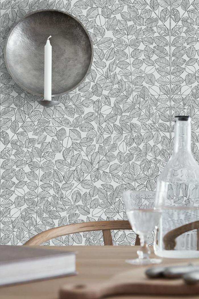 déco papier peint scandinave avec feuilles