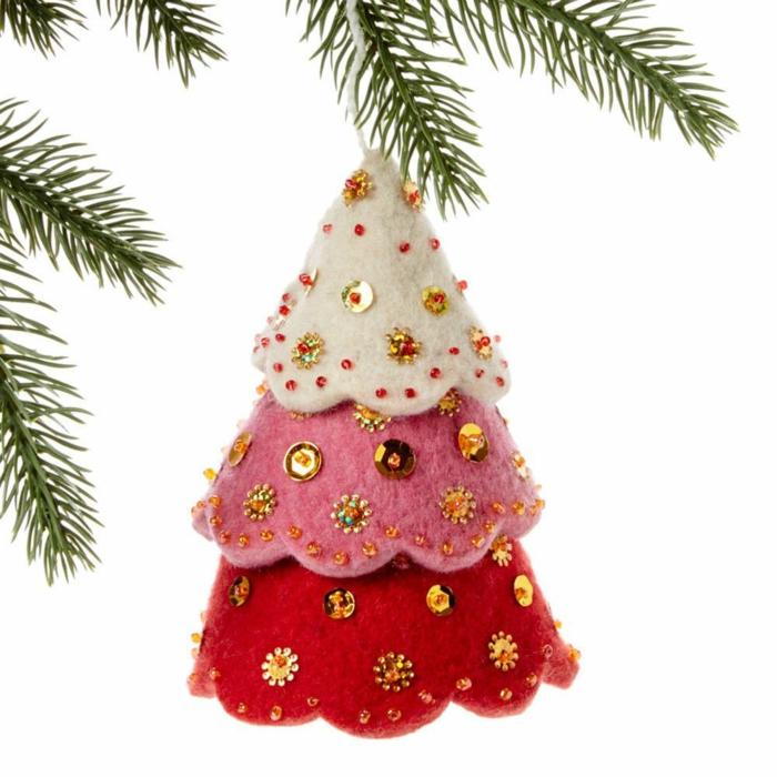 Décoration De Noël à Faire Soi Même Ornement Sapin En Tissu