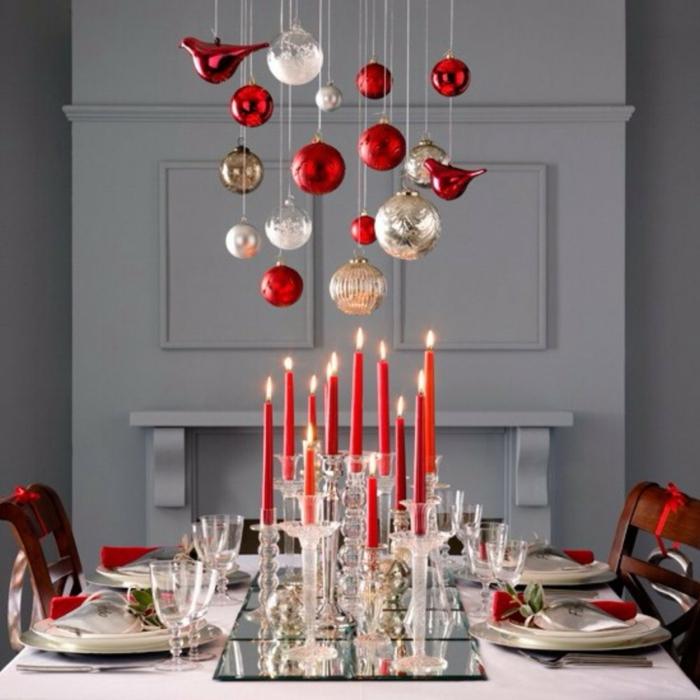 décoration de table de noël bougies rouges