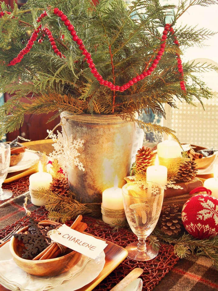 décoration de table de noël carte de nom pour table