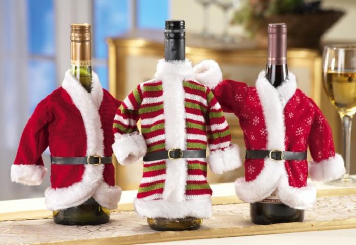 décoration de table de noël déco bouteille de vin