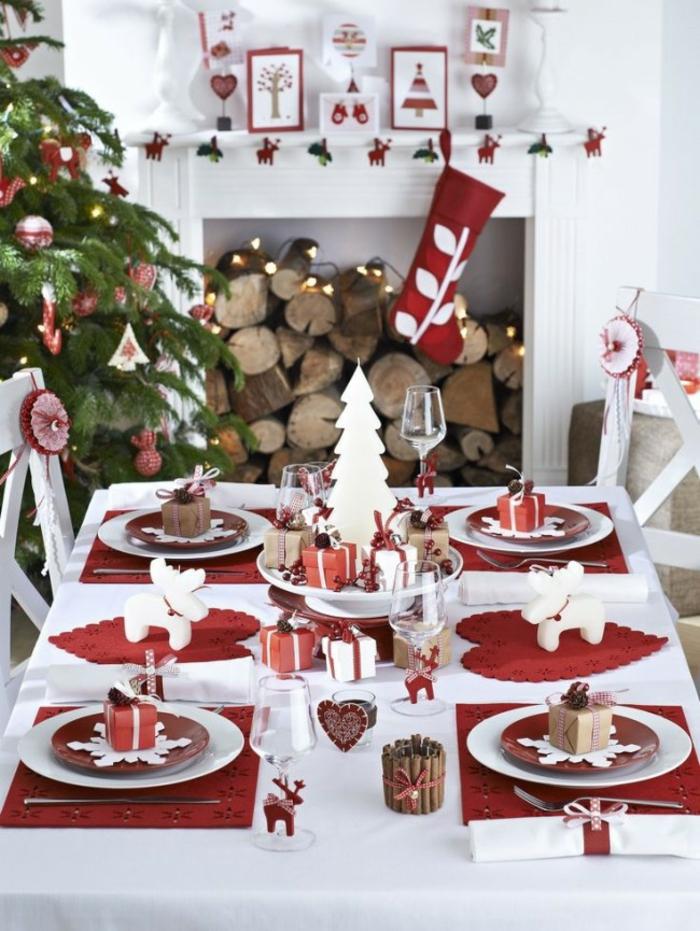 décoration de table de noël de style