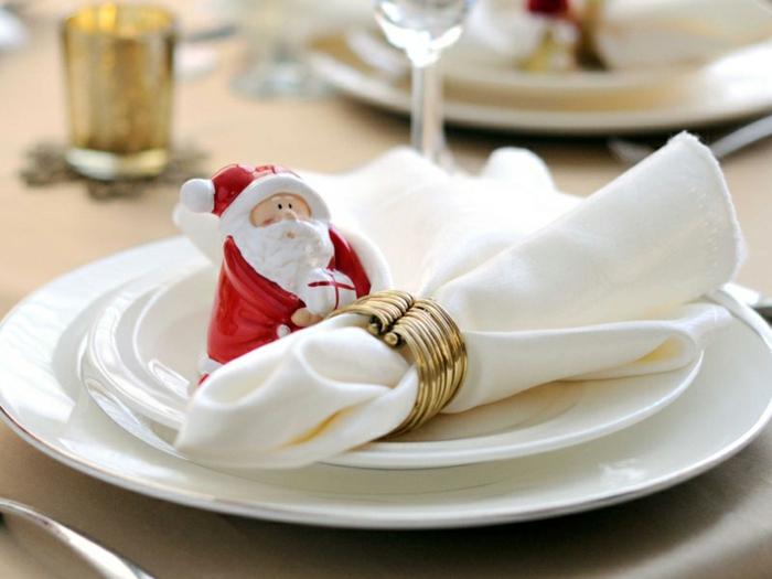 décoration de table de noël figurines pliage serviette