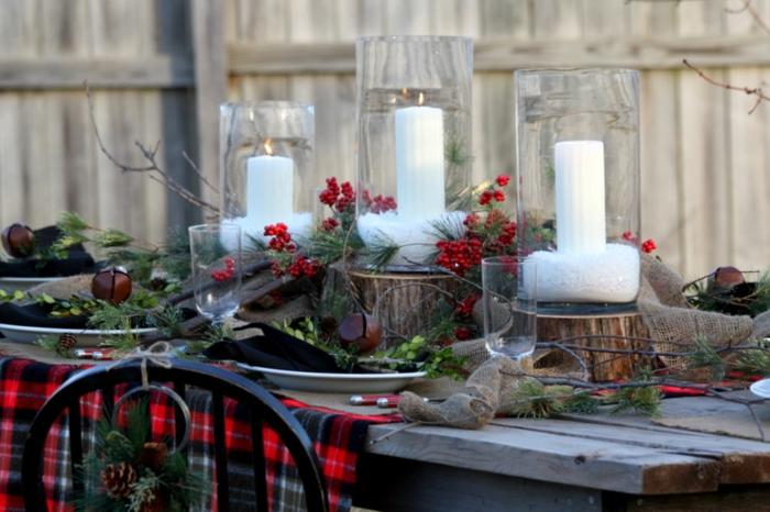décoration de table de noël grands bougeoirs