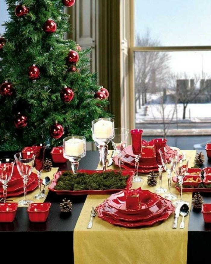 décoration de table de noël idée de déco en rouge