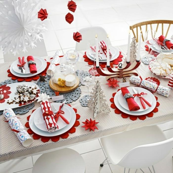 décoration de table de noël jolies serviettes