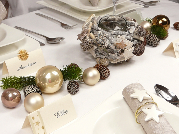 décoration de table de noël matériaux naturels