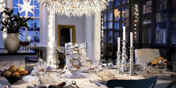 décoration de table de noël objets déco argent