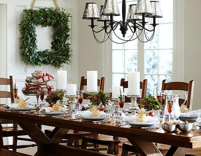 décoration de table de noël pommes de pin peints dorés
