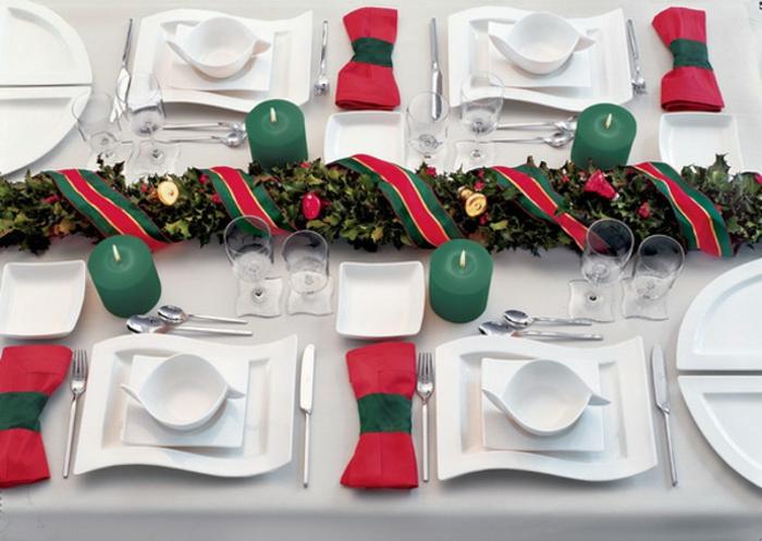décoration de table de noël rouge blanc et vert