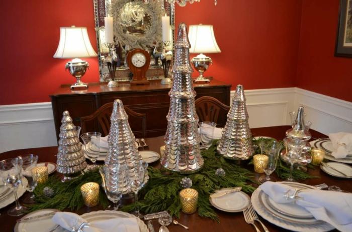 décoration de table de noël sapins de métal