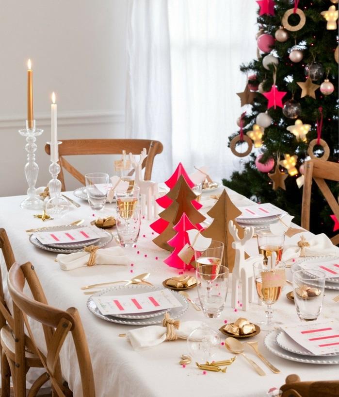 décoration de table de noël sapins en carton