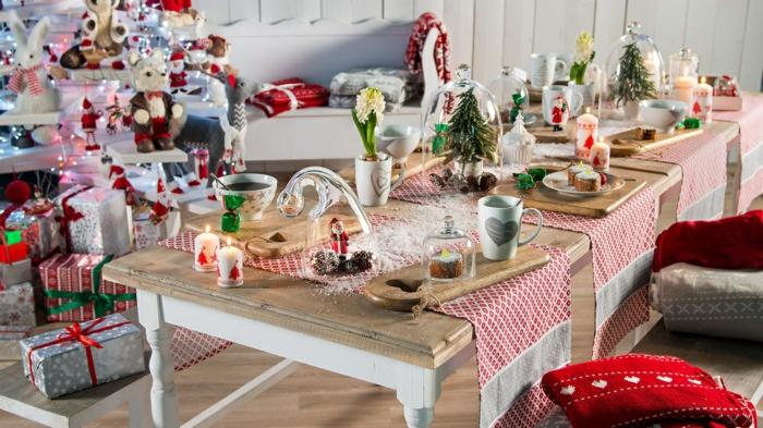 décoration de table de noël table couleurs noël