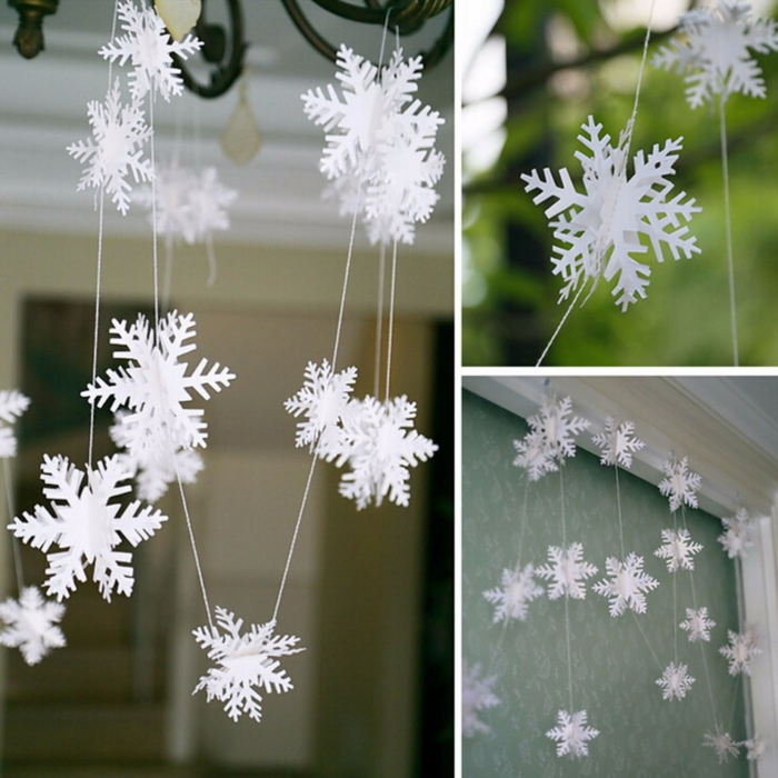 flocons de neige diy guirlande de noël