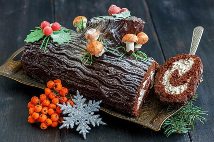 gâteau de fête bûche de noël