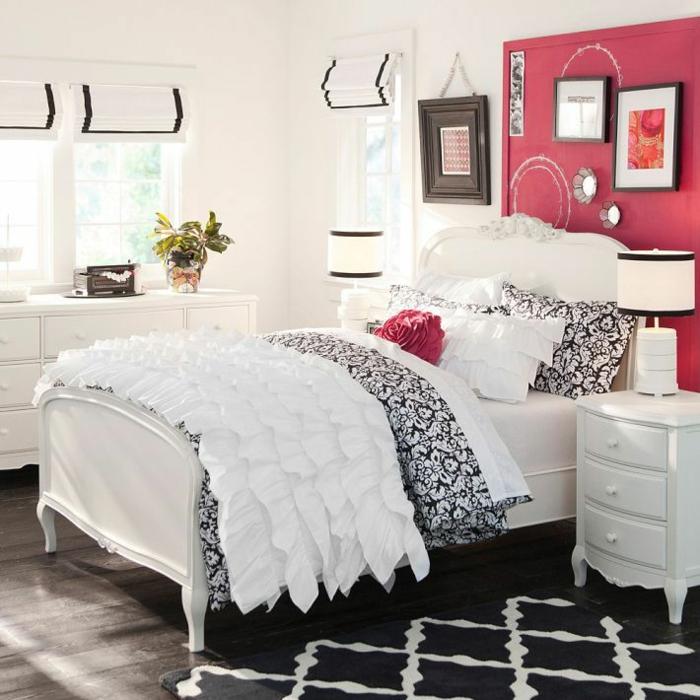 idée chambre ado fille rouge blanc et noir