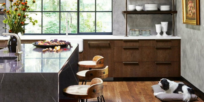 idée cuisine rustique moderne meubles marbre et bois