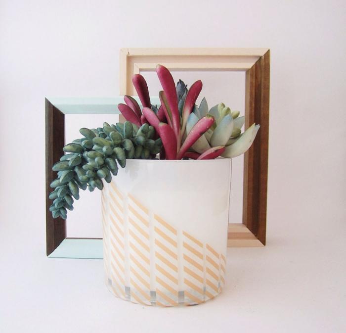 idée déco masking tape pour les pots de fleurs