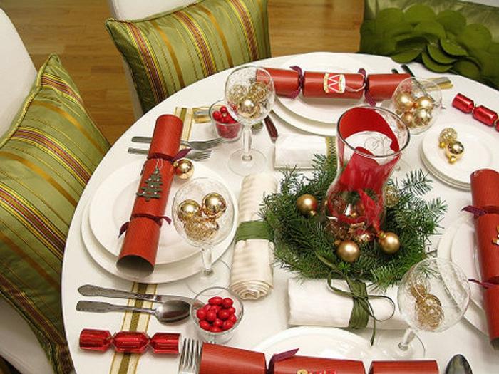 idée décoration de table de noël table ronde