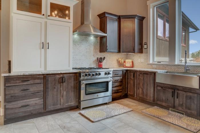 idée de cuisine rustique moderne crédence carrelage meubles en bois