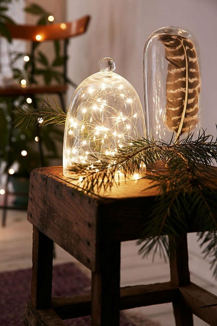 idée de décoration de Noël avec guirlande lumineuse