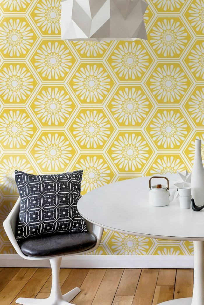 idée papier peint scandinave en jaune