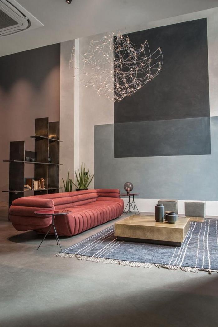 inspiration de canapé moderne en couleur terracotta