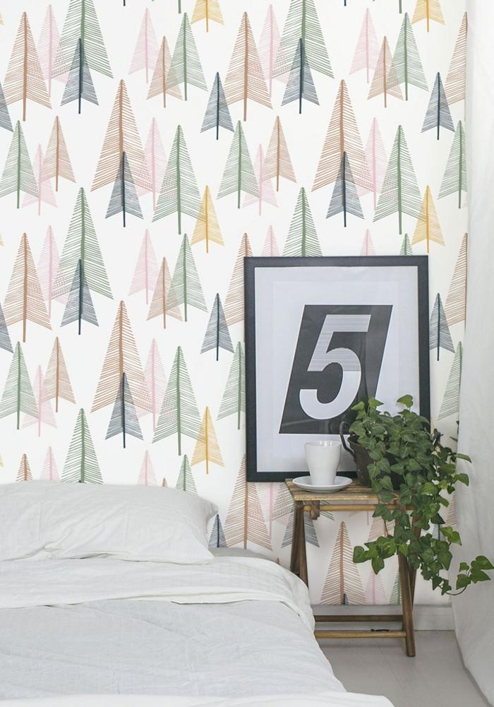 intérieur moderne avec papier peint scandinave