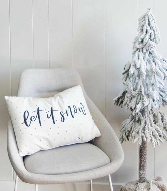 let it snow coussin pour décoration de Noël