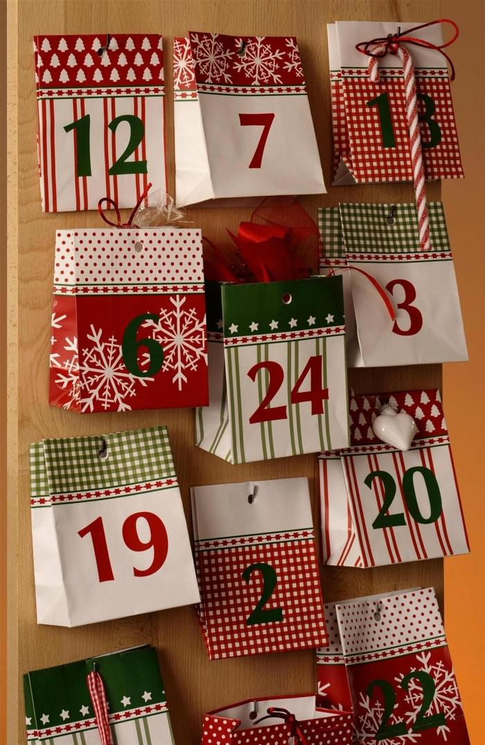 paquets en papier pour calendrier de l'avent à fabriquer