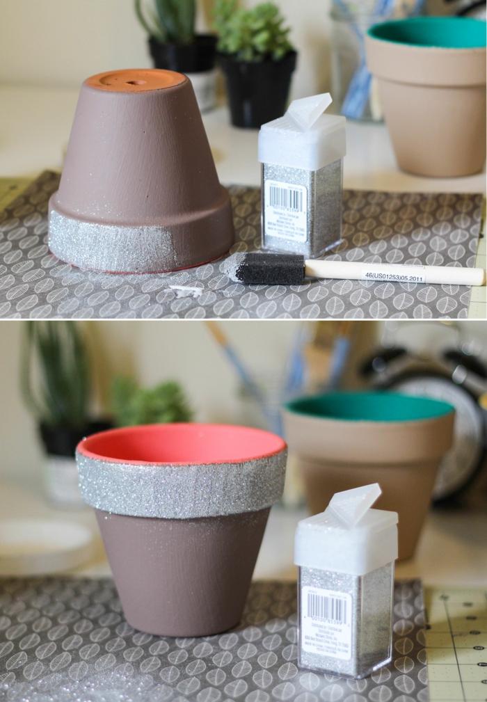 pots de fleurs avec paillettes