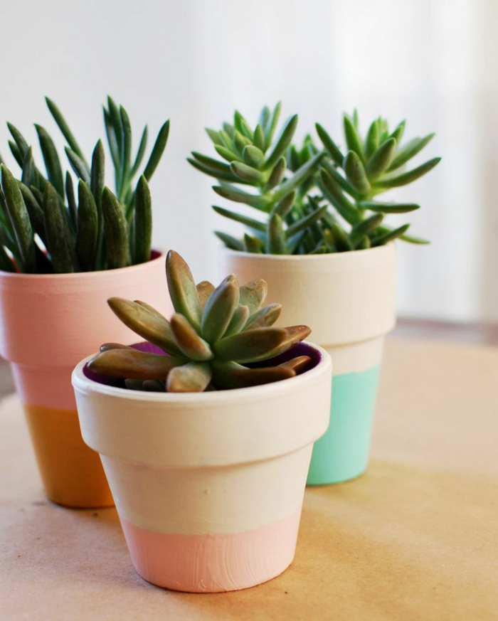 pots de fleurs couleurs pastel