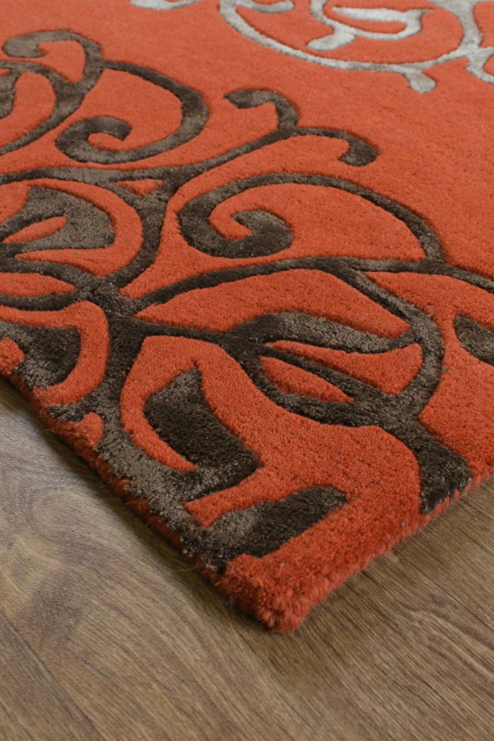 tapis en couleur terracotta