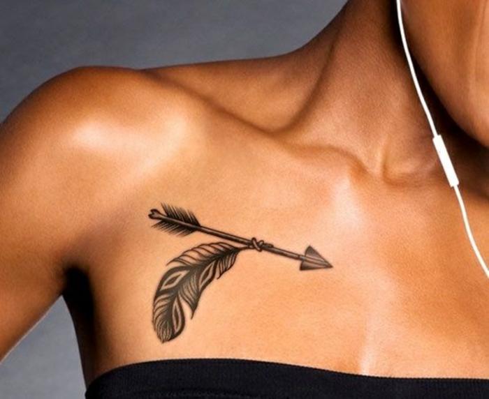 tatouage plume et flèche