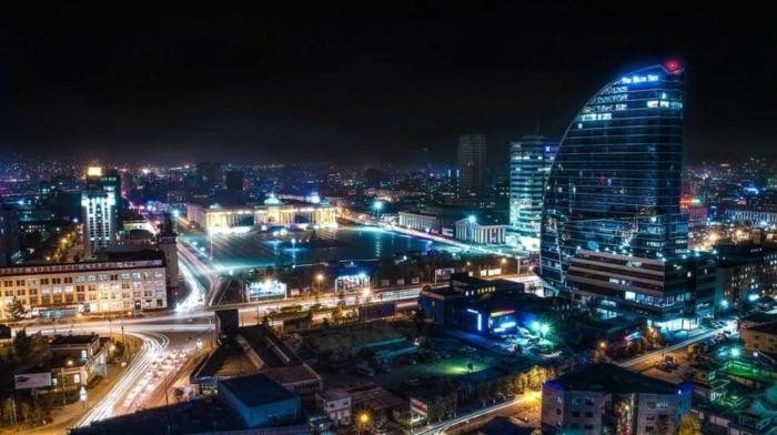 oulan-bator centre-ville paysage nocturne