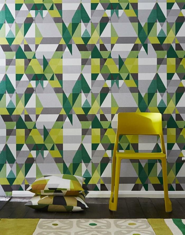 vert et jaune papier peint scandinave