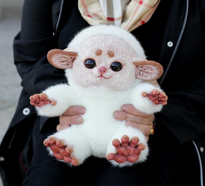 animal fantastique fait main santani poupée réaliste